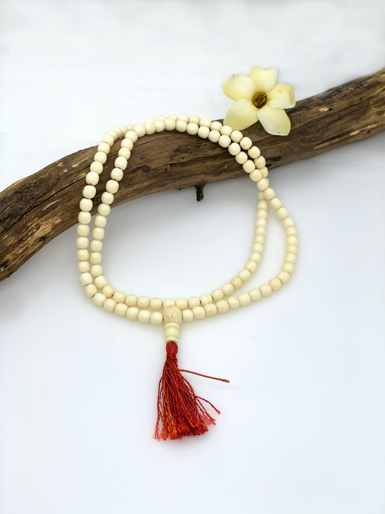 Handmade Naga Shell mala 108 beads with red tassel