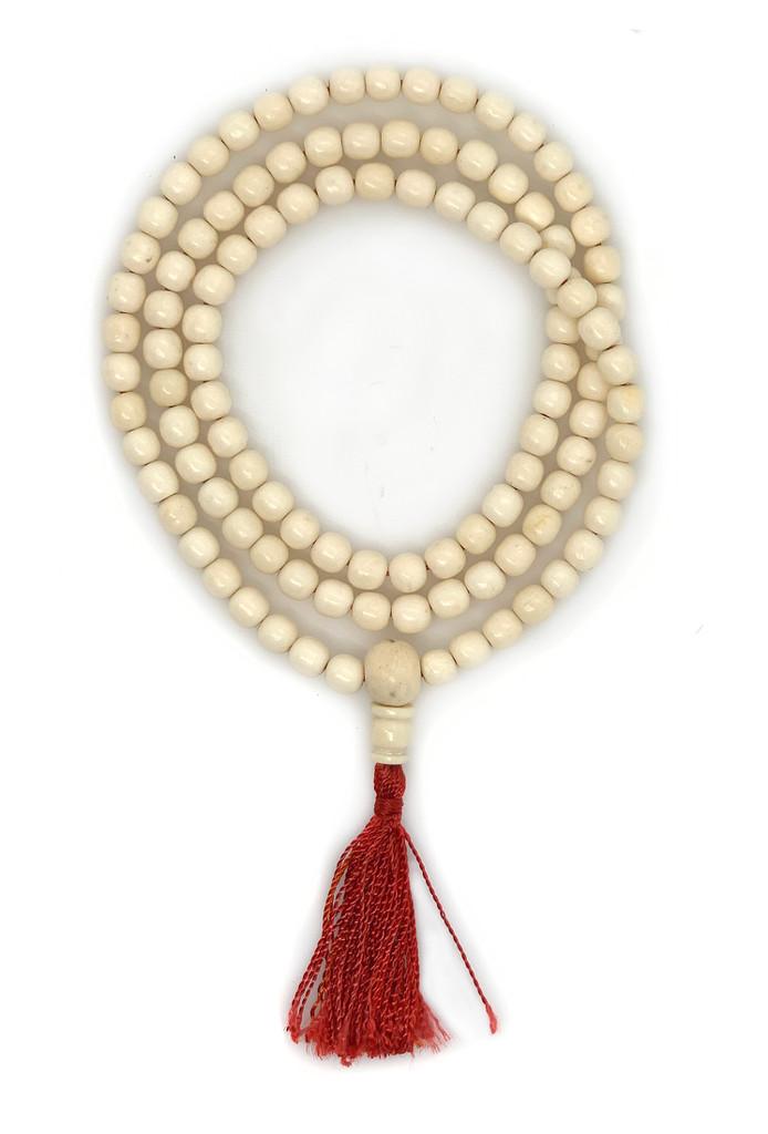Handmade Naga Shell mala 108 beads with red tassel