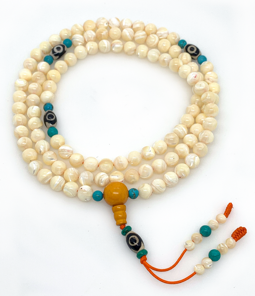 Handmade mother of pearl Mala 108 beads with dzi bead for meditation