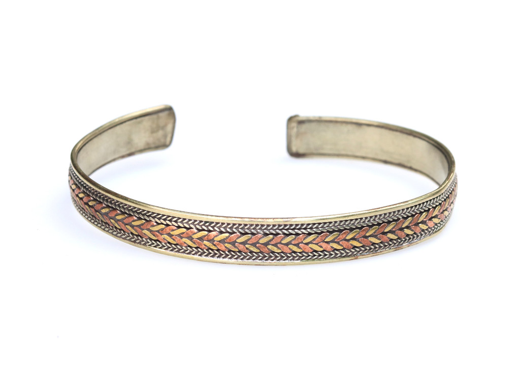 Handmade Tibetan Medicine Twisted/Braided Three Metal Cuff Bracelet from Nepal 1