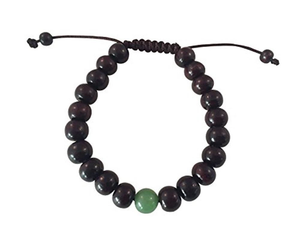 Tibetan Mala Rosewood Wrist Mala Bracelet Fo Meditation (green jade)