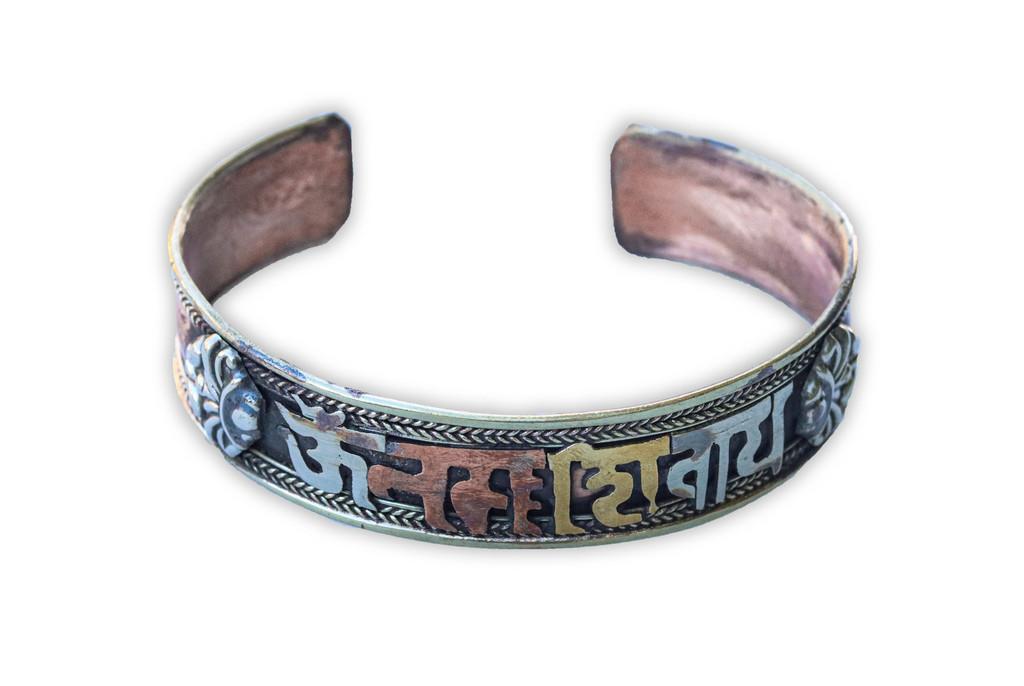 Buddha of Compassion three Metal Bracelet Om Mani Padme Hum