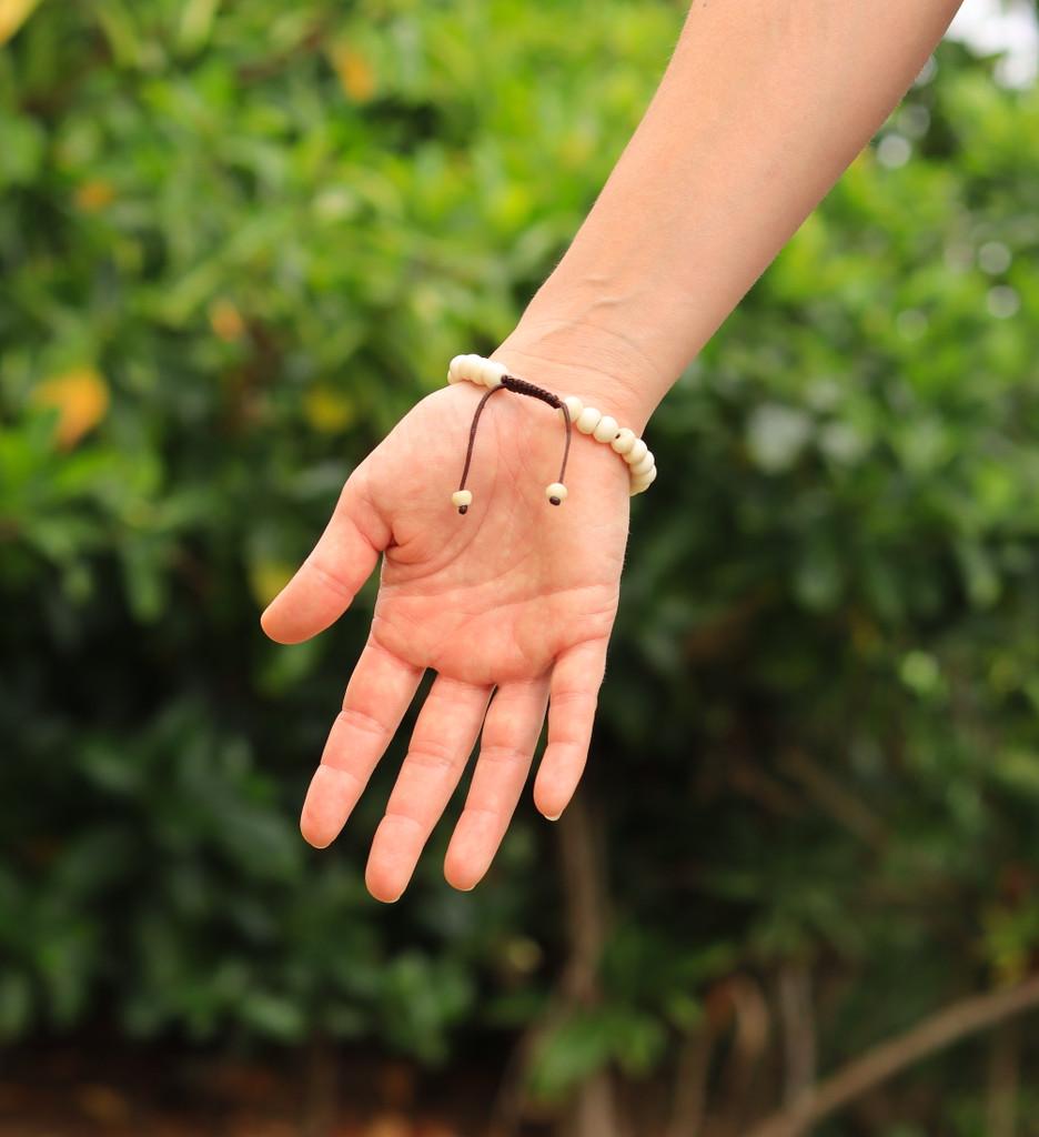 Handmade Yak Bone Tibetan Wrist Mala Bracelet for Meditation (Plain)