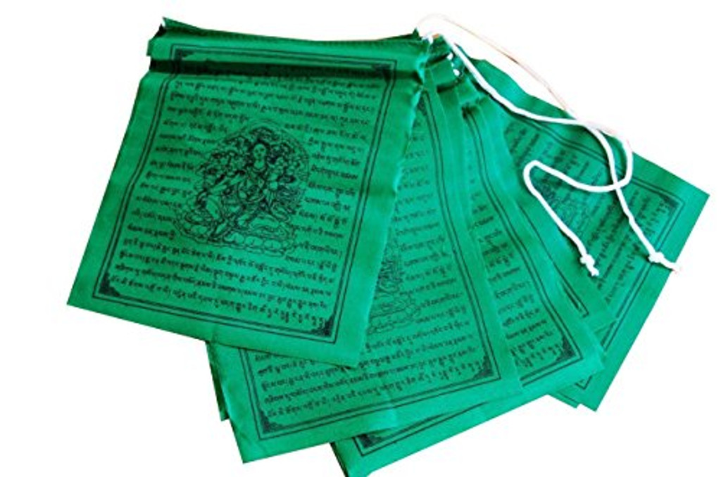 Tibetan Prayer Flags Solid Green Color Green Tara Set of Ten Flags