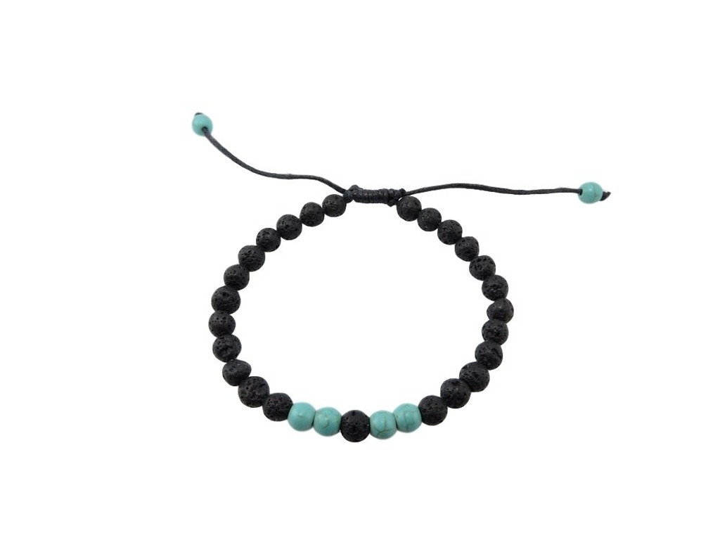 Small Lava Stone Turquoise Wrist Mala Bracelet