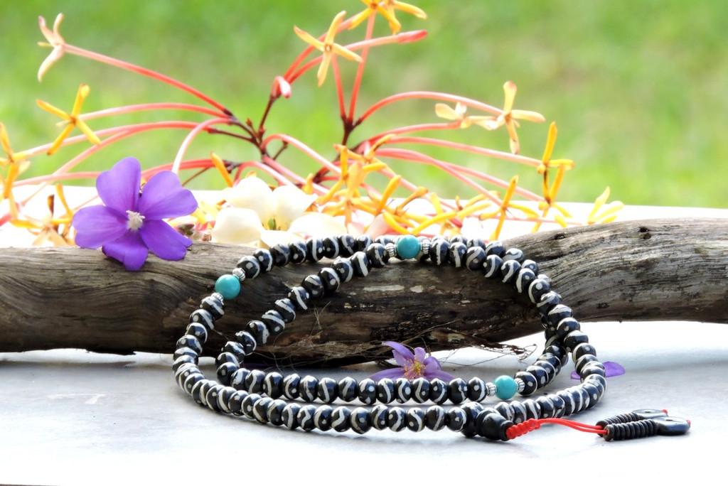 Yak Bone 108 Yin Yang dZi Bead Mala for Meditation