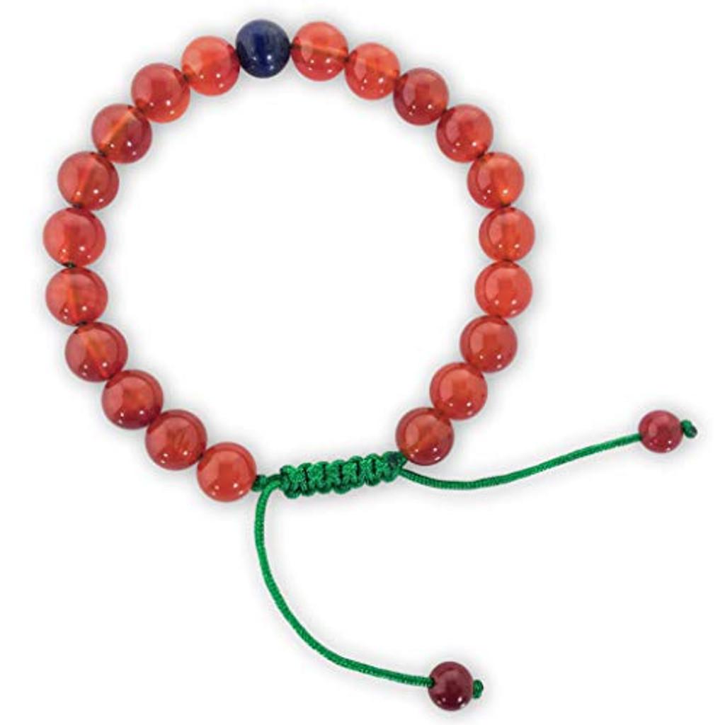 Hands Of Tibet Tibetan Mala Carnelian Wrist Mala/Bracelet for Meditation (Lapis Beads)