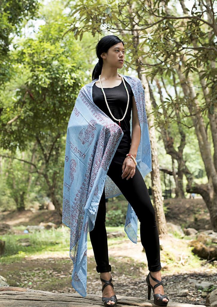 Om Nama Shiva Shawl/ Scarf - Blue