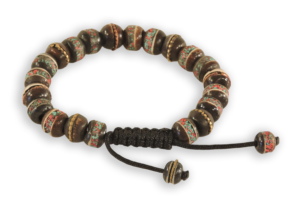 Tibetan Prayer Mala Embedded Medicine Bracelet Yoga Healing Beads Adjustable Wrist Mala Many Color Choices (Large Black)