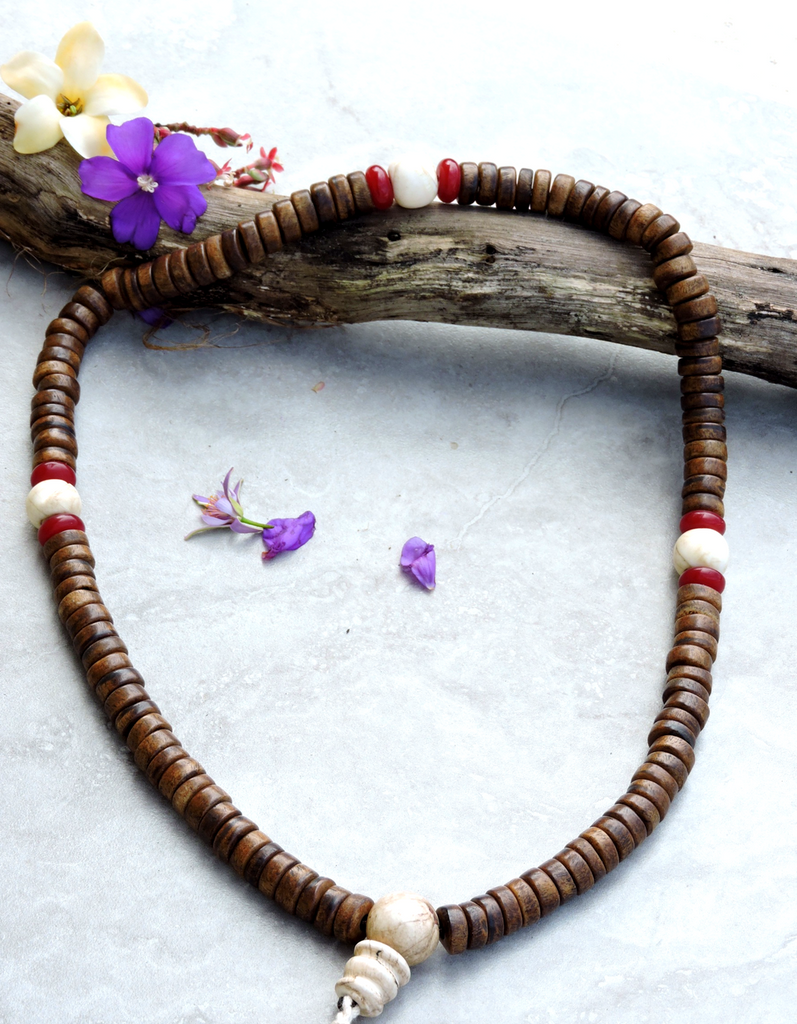 Extra Large Antiqued Yak Bone Mala with Naga Shell Guru Bead and Spacers for Meditation