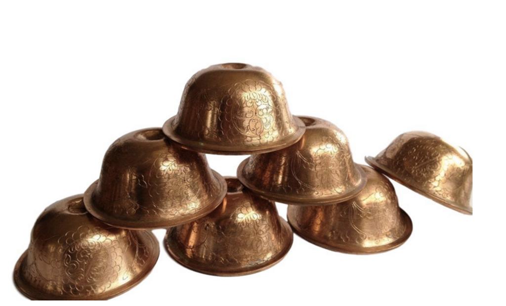 Hand Carved Copper Water Offering Bowl Seven Bowl set