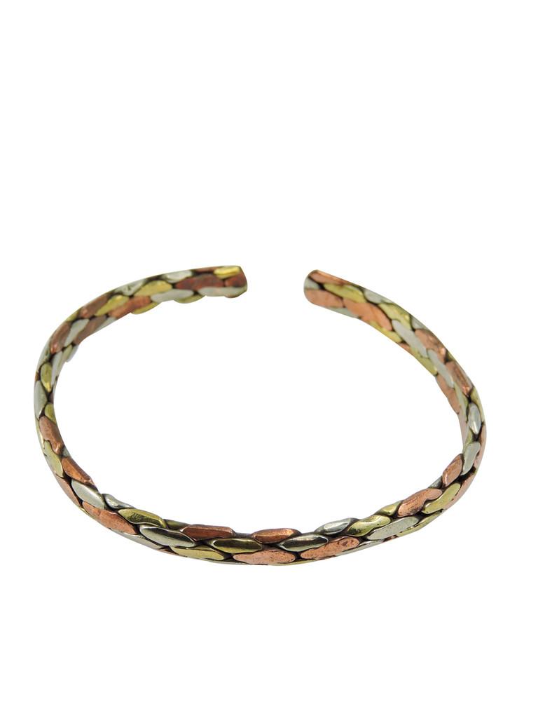 Handmade Twisted Three Metal Medicine/ Healing Bracelet From Nepal