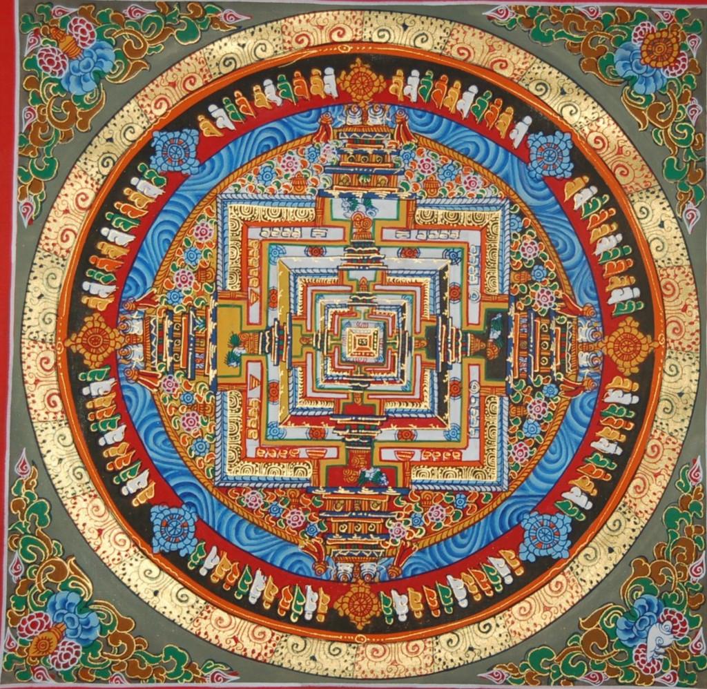 Kalachakra Mandala Thangka Painting red Border
