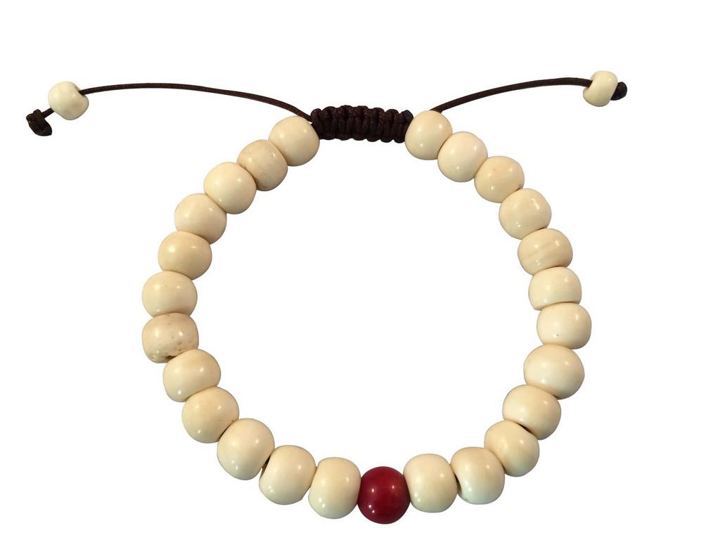 Tibetan mala Yak bone Wrist mala bracelet with coral spacer