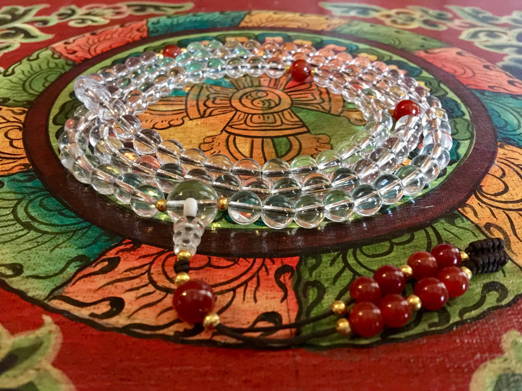 Dramatic Clear Quartz 108 Bead Tibetan Mala with Carnelian Guru Bead and Spacers for Meditation