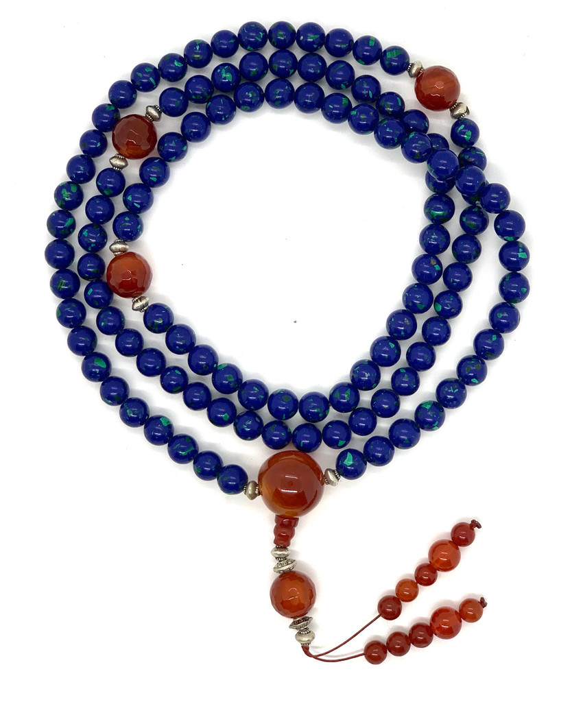 Tibetan Mala Azurite Mala 108 Beads with Carnelian Guru Bead and Tibetan Silver