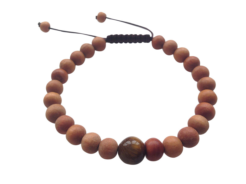 Wood Bead Wrist mala Bracelet with Large Tiger eye