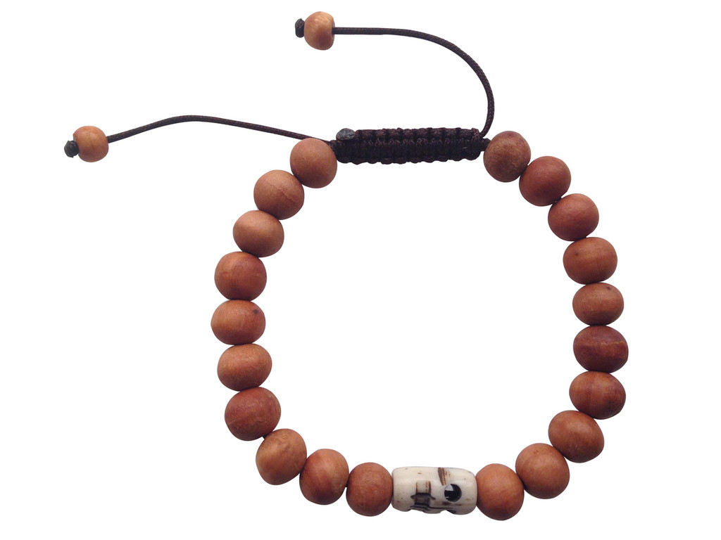 Wood Bead Wrist mala Bracelet with skull bead