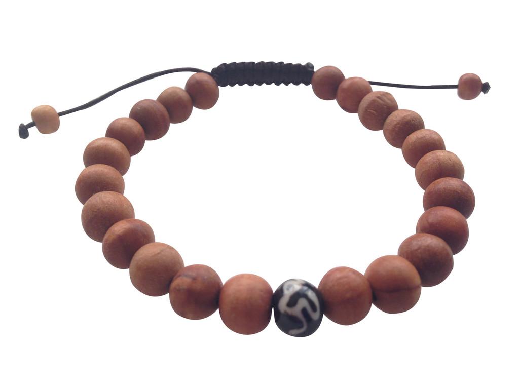 Wood Bead Wrist mala Bracelet with medicine bead spacer