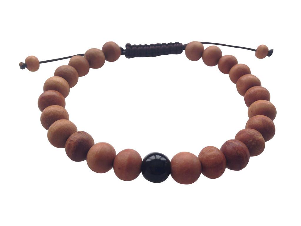 Wood Bead Wrist mala Bracelet with black onyx spacer