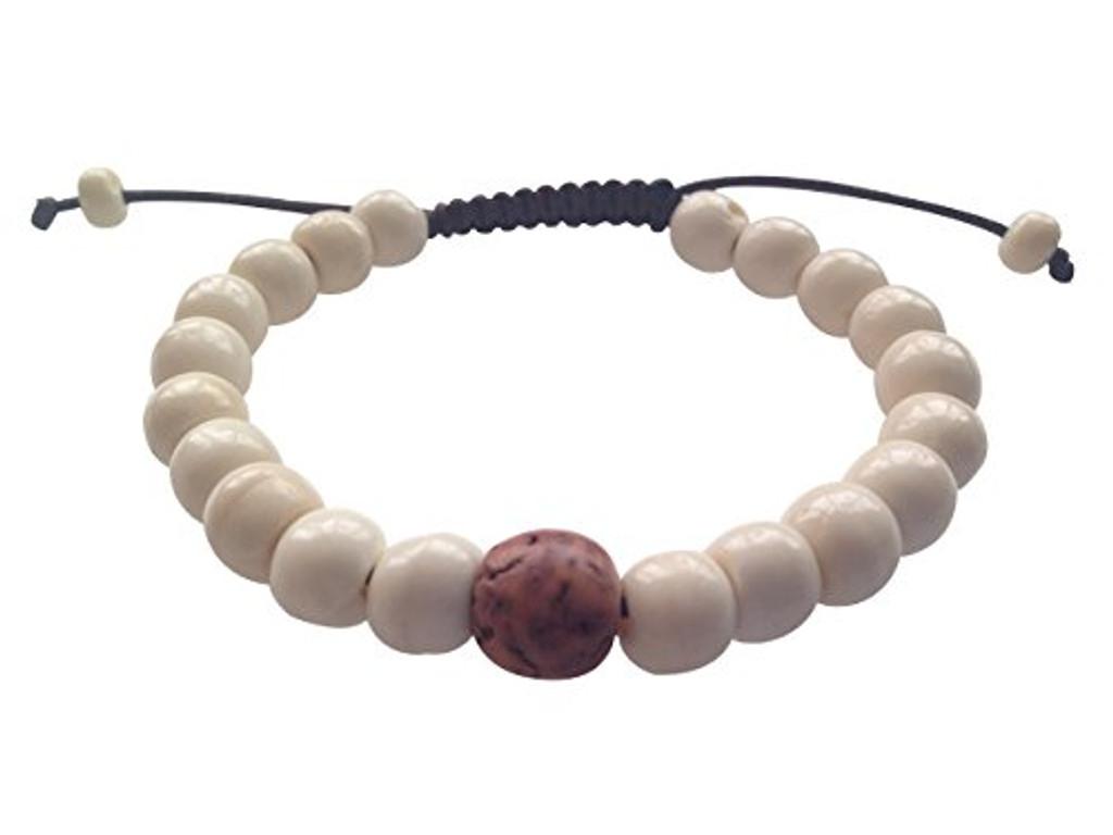 Yak Bone Tibetan Wrist Mala Bracelet with Bodhi Seed Spacer for Meditation