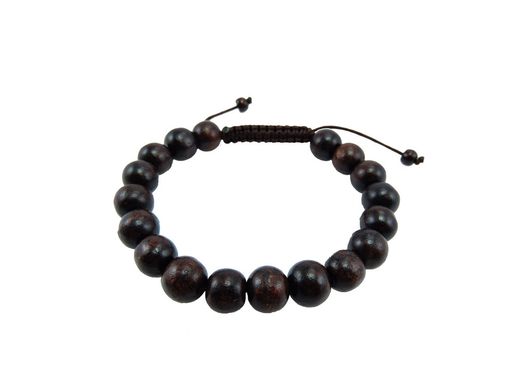 Large Rosewood wrist mala/ Bracelet brown string