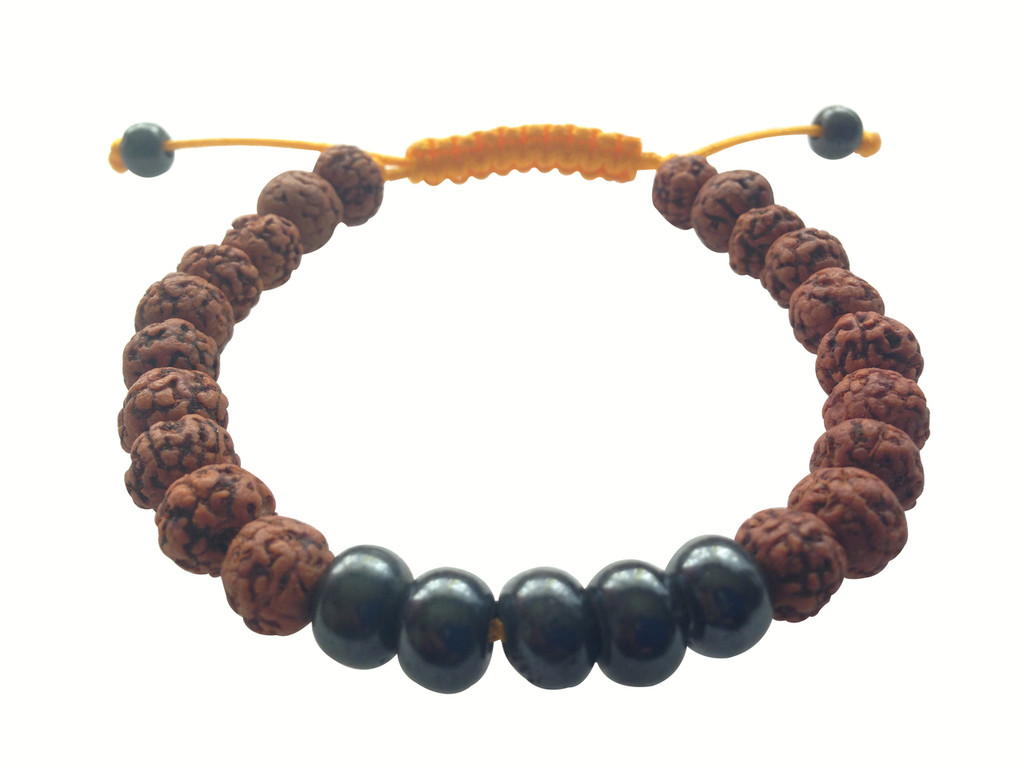 Rudraksha with dark yak bone wrist mala