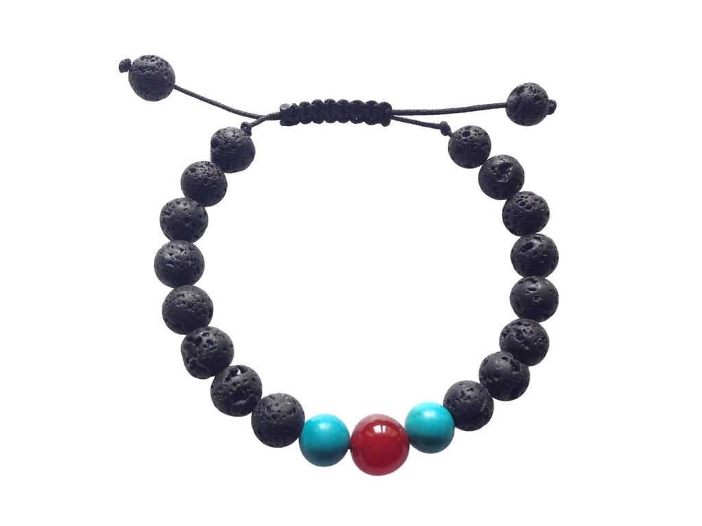 Carnelian and Turquoise Lava Wrist Mala