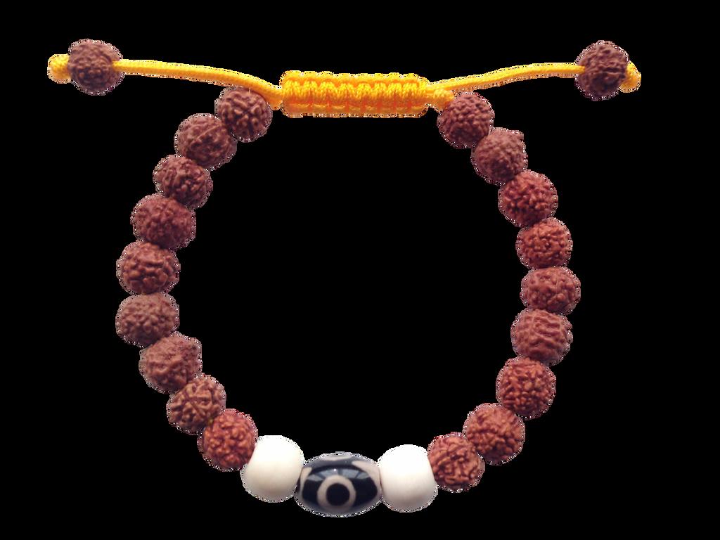 Two Eye Dzi Bead and Rudraksha Wrist mala Bracelet