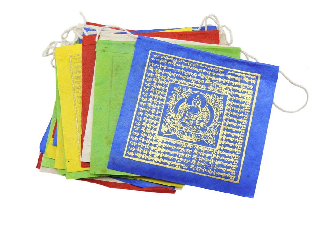 Small  Handmade Paper Medicine Buddha Prayer Flags