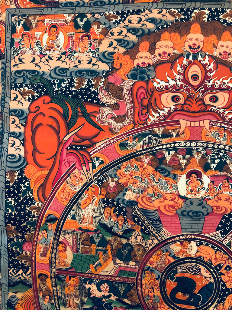 Hand painted Wheel of Life Thangka painting with Blue Silk Brocade