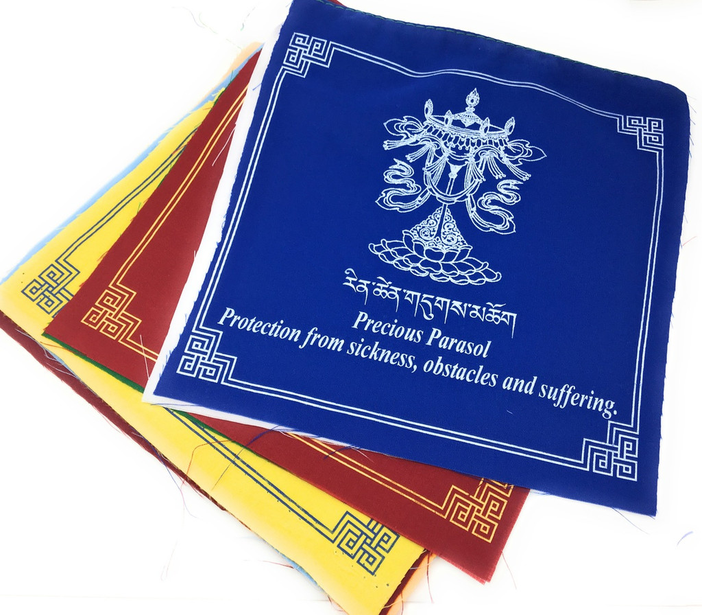 Large eight auspicious symbols prayer flags