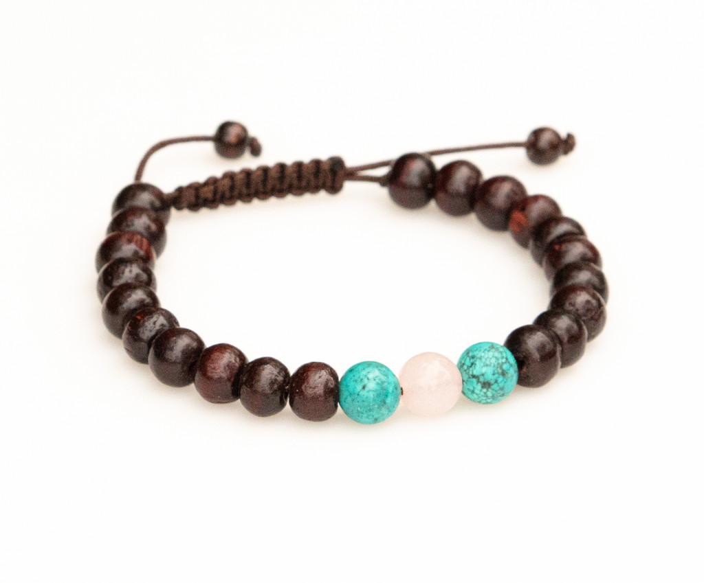 Rosewood Tibetan Wrist Mala/Bracelet with Turquoise and Rose Quartz