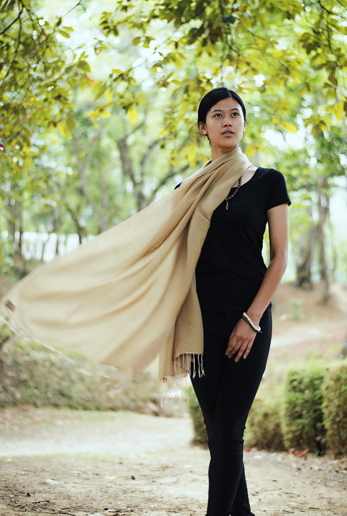 Handmade Pashmina Water Shawl from Nepal - Tan