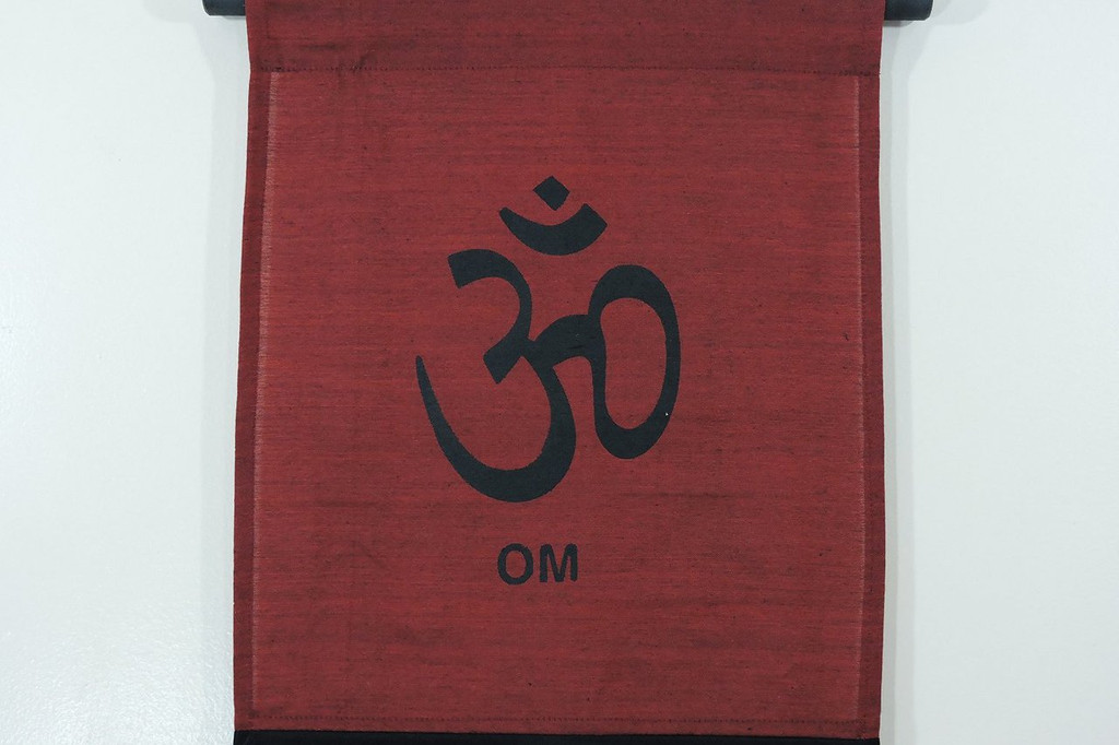 Large Cotton Om Inspirational Yoga Banner Scroll Style Three Color Choice (Burgundy)