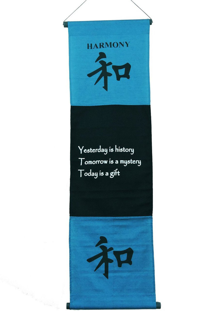 Large Cotton Harmony Inspirational Yoga Banner Scroll Style Three Color Choice (Turquoise)