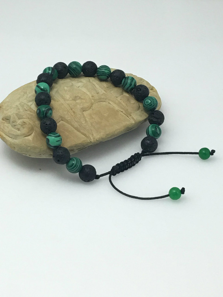 lava and Malachite Wrist mala Bracelet for meditation