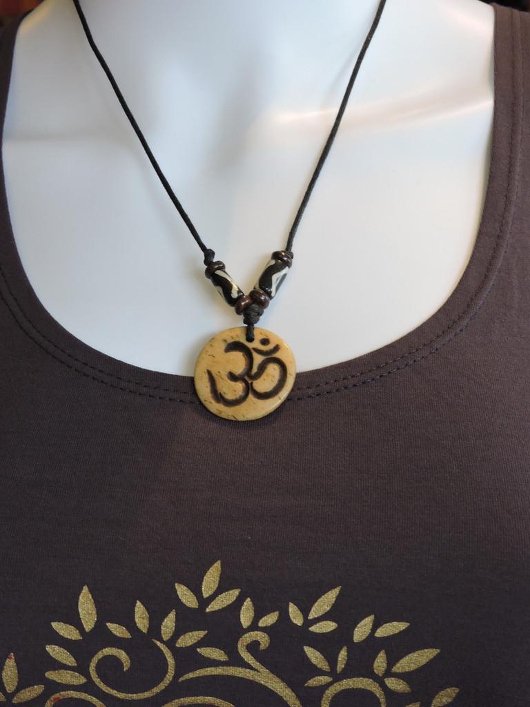 Yak bone Om pendant Necklace