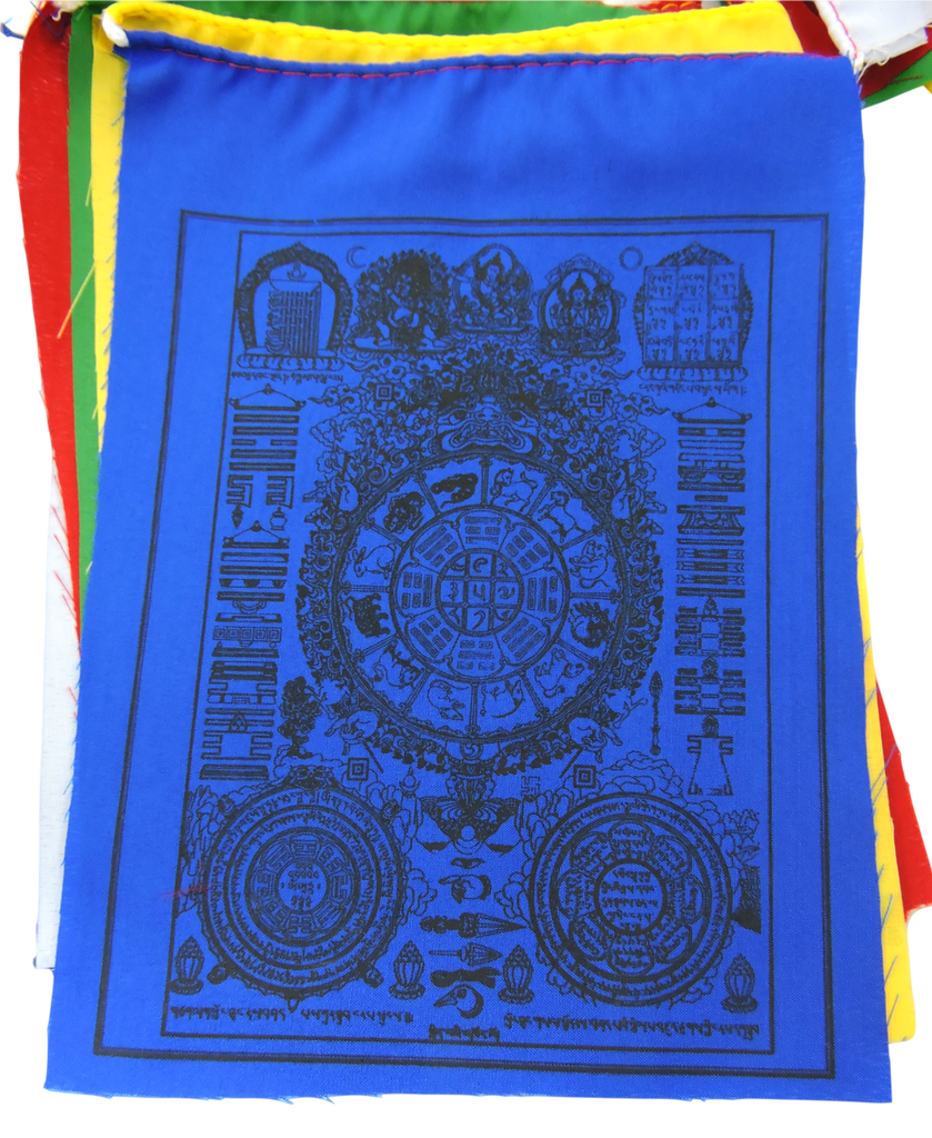 Handmade Tibetan Wheel of Astrology Prayer Flags for Good Energy