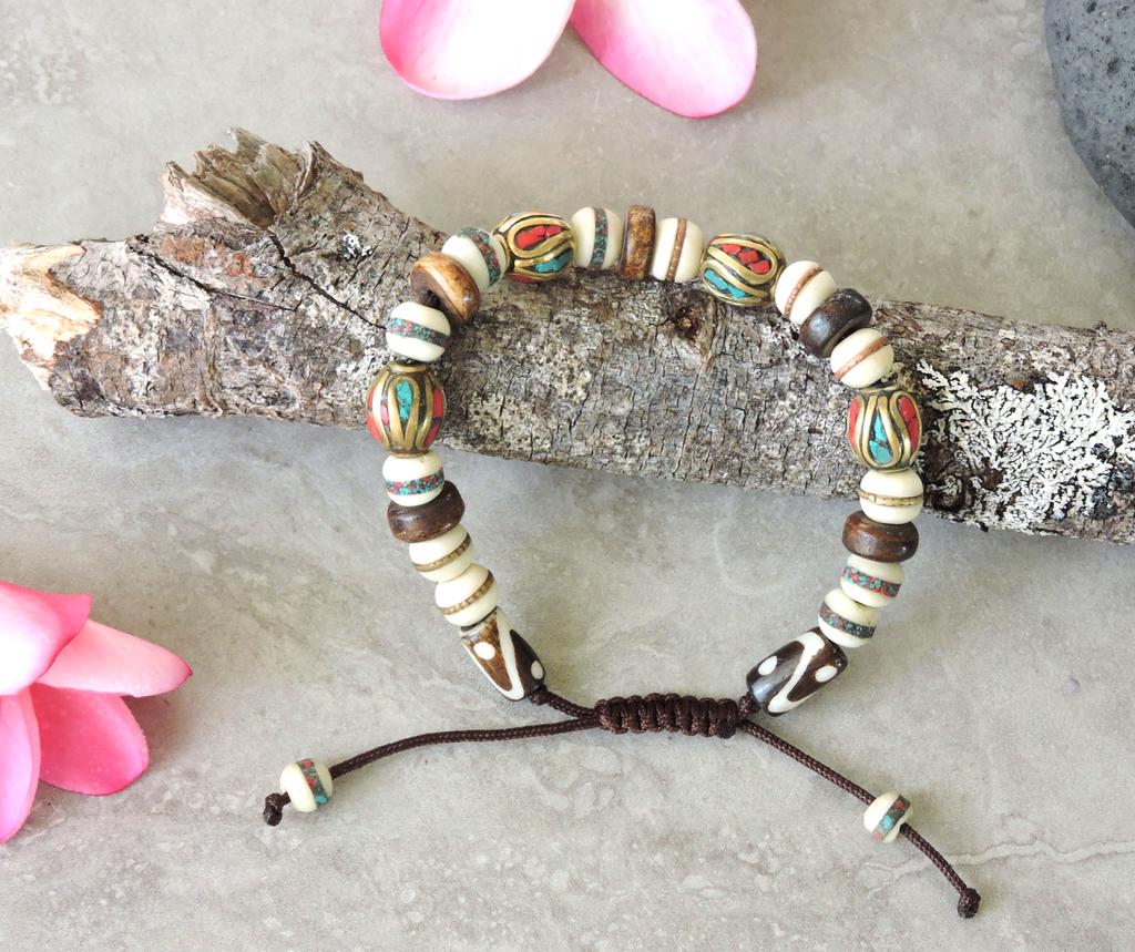Tibetan Healing Multi-Color Bead Wrist Mala/Yoga Bracelet