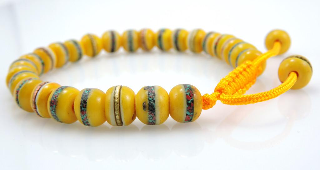 Tibetan Embedded Yak Bone Medicine Healing Wrist Mala for Meditation - Yellow