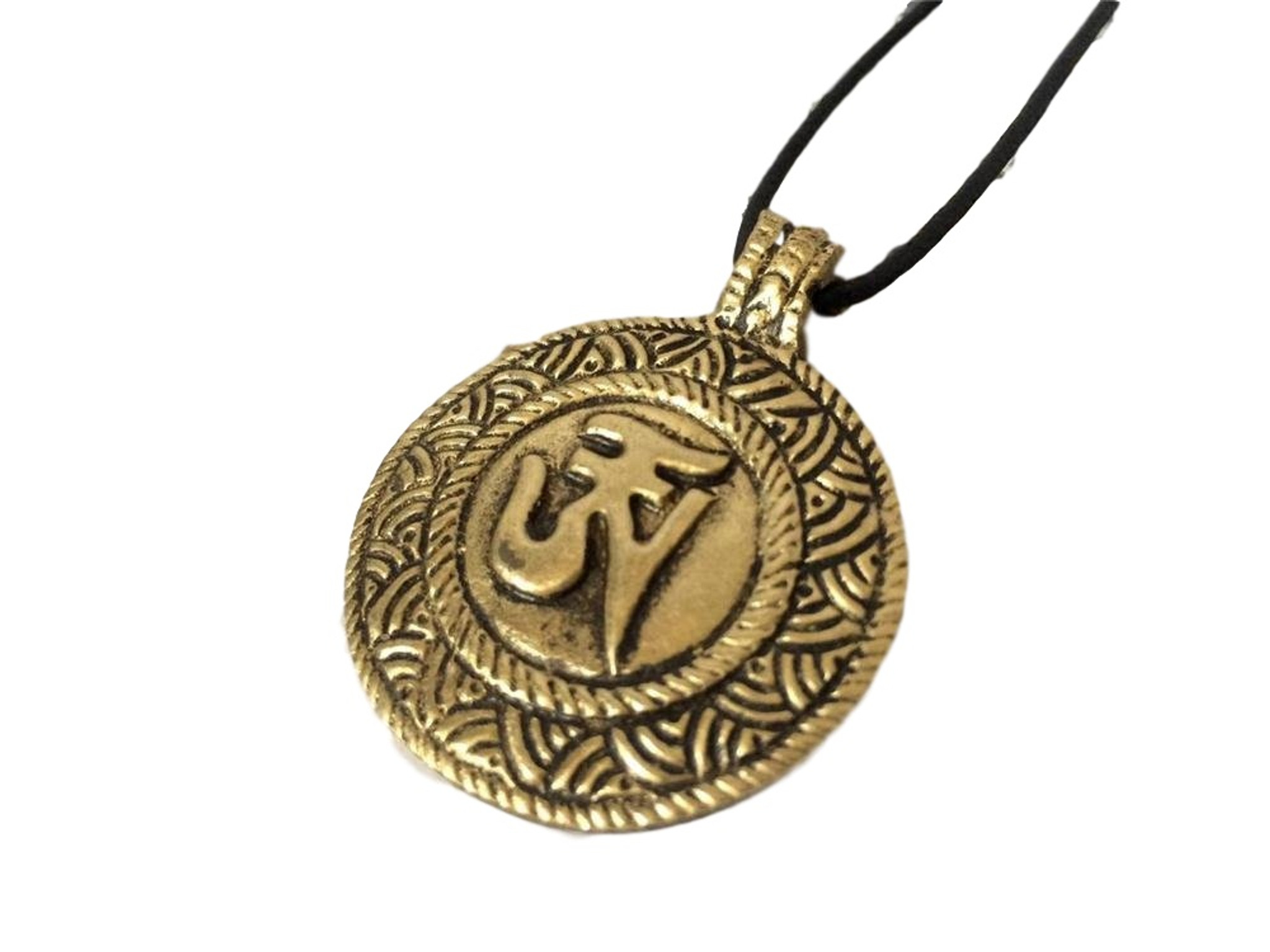 Om Pendant Tibetan Pendant Ohm Charm Handmade Jewelry Mantra Pendant Nepal Brass Inlay Bohemian Jewelry Yoga Jewelry Making Supplies 13190