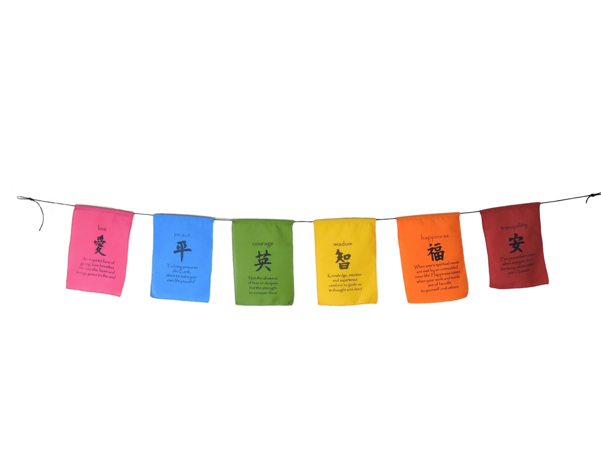 Handmade Tibetan Affirmation Prayer Flags Peace Happiness