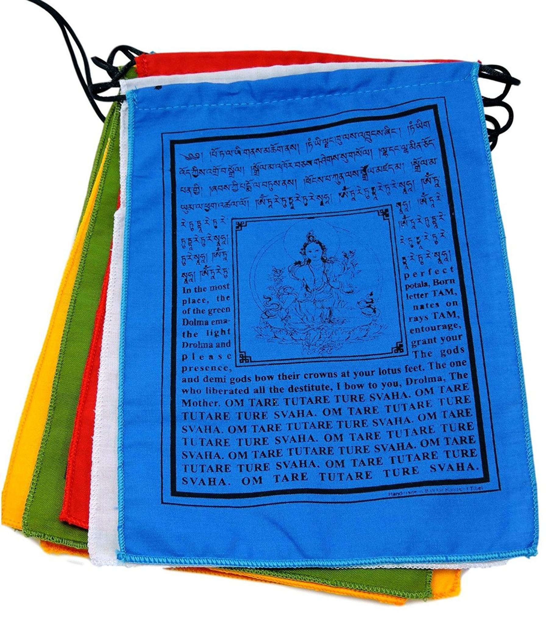 Small Green Tara Tibetan Prayer Flags with English Translation (6