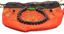Rosewood Tibetan Wrist Mala Bracelet - Green String