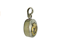 White Metal Sanskrit Om Amulet Ga'u Locket Pendant from Nepal