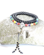 Black Onyx and Seven Charka 108 Bead Mala