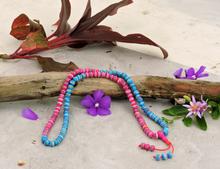 Healing Embedded 108 Bead Mala for Meditation- Fuchsia and Sky Blue