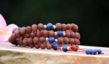Raktu 108 Mala with Lapis Lazuli Spacers