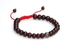 Dark Rosewood Wrist Mala/Bracelet with Bloodstone Spacer